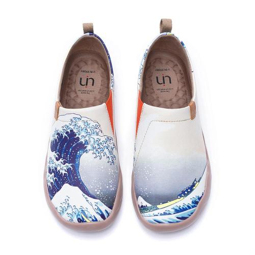 UIN Great Wave off Kanagawa Design Women Casual Shoes Slip-on Loafers Comfort Walking Shoes Ladies Fashion Flats