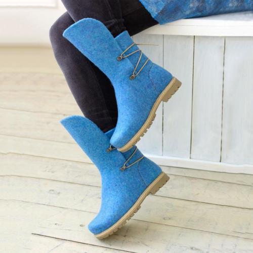 Women Winter Elastic Band Woolen Mid-Calf Boots