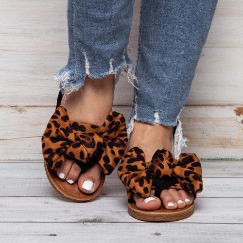 Flip-Flops Leopard Slippers Faux Suede Bowknot Slippers