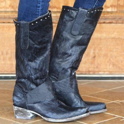Rivet Mid-Calf Womens Western Boots Plus Size Shoes