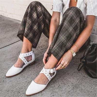 Women's Casual Cross Buckle   Point Flat Shoes