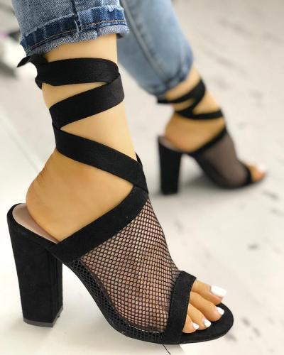 Mesh Open Toe Slingback Chunky Heeled Pumps