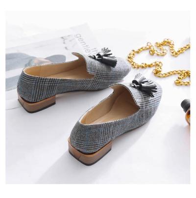 Fringe Loafers for girls Fashion Gingham Flats shoes women Slip-on Soft Canvas Lazy shoes Designer Flats luxury 2019