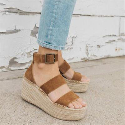 Summer Open-Toed Simplicity Buckle Thick Soled Sandal