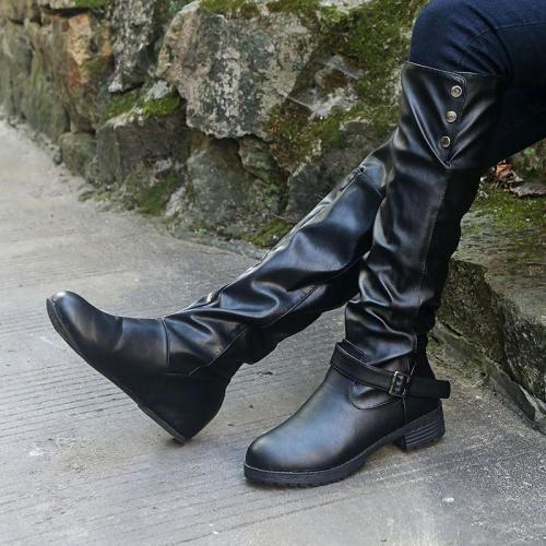 Rivet Slip On Chunky Heel Knee Boots