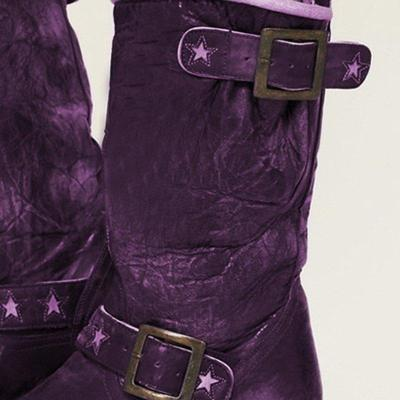 Vintage Buckle Strap Artificial Leather Mid-Calf Boots Womens Fashion Boots