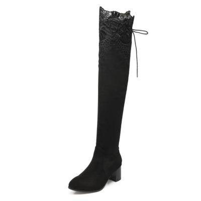 Lace Flock Over the Knee Boots for Women 5219