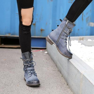 Pu Low Heel Combat Boots