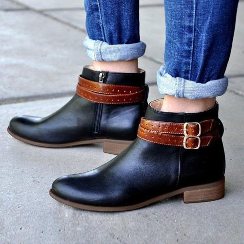 Womens Ankle Boots Zipper Artificial Leather All Season Boots