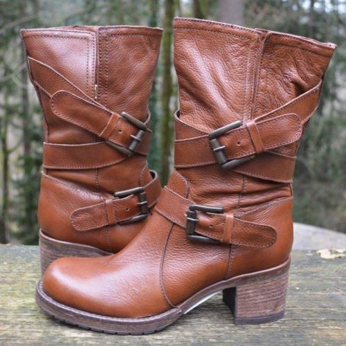 Double Buckle Strap Block Heel Boots Vintage Women Mid-Calf Boots