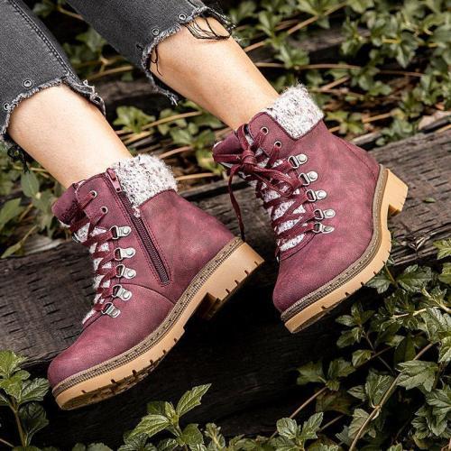 Brown Flat Heel Closed Toe Women Flat Boots