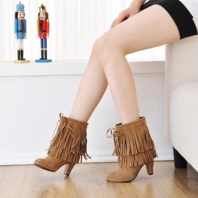 Women Tassel High Heel Short Boots Plus Size Autumn and Winter Shoes 4662