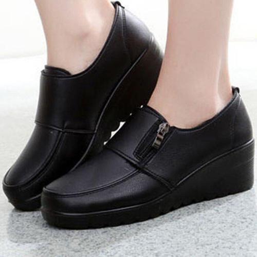 Solid Color Wedges Platform Comfortable Black Shoes
