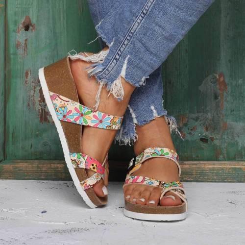 Printed Flip-Flops Beach Slippers Buckle Summer Pu Slippers