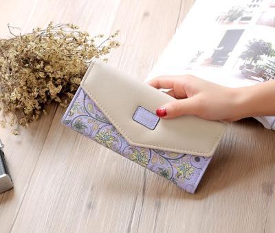 Wristlet Fashion Envelope Women Wallet Hit Color 3Fold Flowers Printing 5Colors PU Leather Wallet Long Ladies Clutch Coin Purse