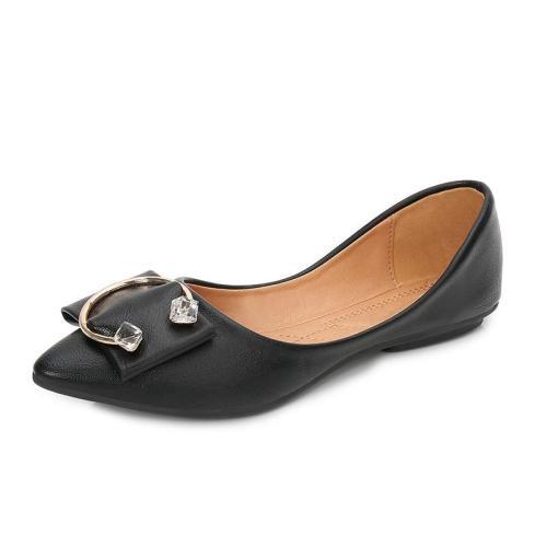 Large Size 42 Black Slip On Shoes Women Korean Dress Pointed Toe Flats Designer Work Metal Ladies Comfortable Flats MS-A0025
