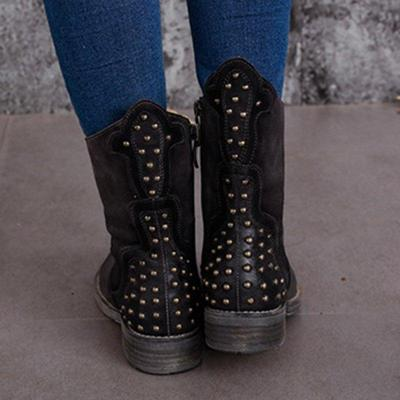 Rivet Artificial Leather Low Heel Zipper Casual Boots