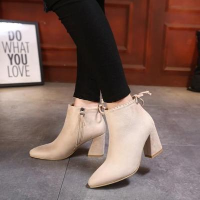Pointed Toe Suede Side Zip Knot Ankle Boots 8461