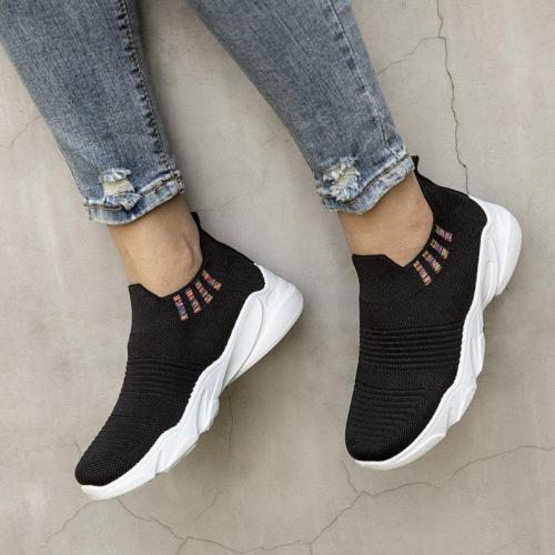 Women Breathable Elastic Cloth Sneakers Platform Slip On Sneakers