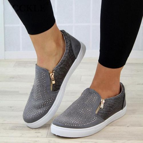 Women Crystal Slip On Spring Flat Loafers Zipper Embossed leather Ladies Glitter Platform Fashion Female Moccasins Shoes