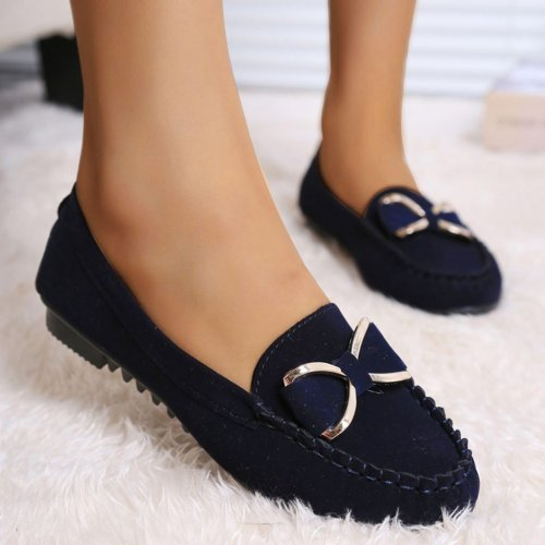 Flat Shoes Women 2021 Bow Knot Flats Women Casual Shoes Solid Slip On Loafers Women Shallow Flat Shoes Black