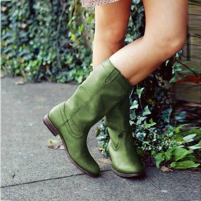 Low Heel Pu Slip-On Boots Mid-Calf Women Boots