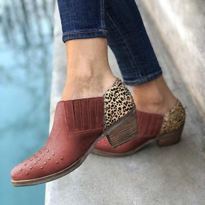 Women Slide Panel Pu Chunky Heel All Season Ankle Boots