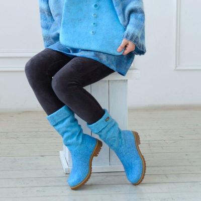 Women Winter Slip-On Woolen Knee-High Boots