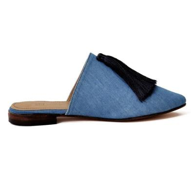 Low-Heeled Pointed Denim Sandals