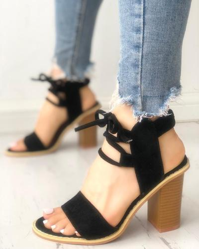 Suede Lace-Up Slingback Chunky Heeled Sandals