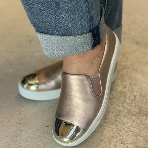 Plus Size Leather Color BlockSlip On Sneakers Casual Loafers
