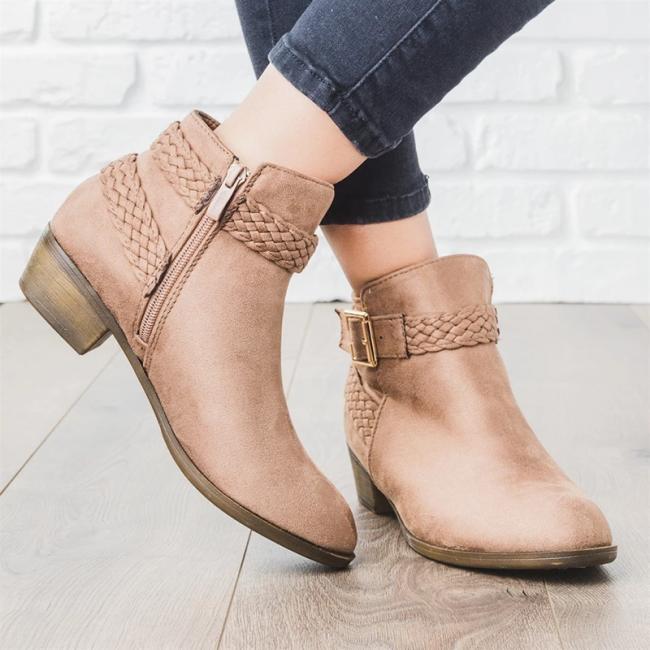 Low Heel Round Toe Women Boots