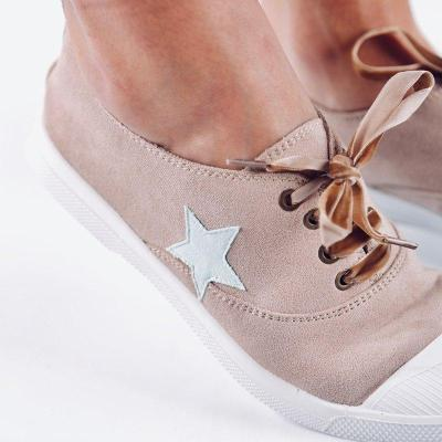Plus Size Athletic Suede Flat Heel Lace Up Sneakers