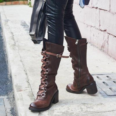 Pu Lace-Up Block Heel Winter Boots