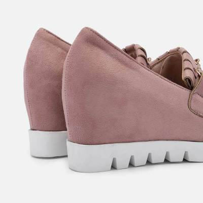 Women Increase Height Wedge Loafers Slip On Stylish Shoes