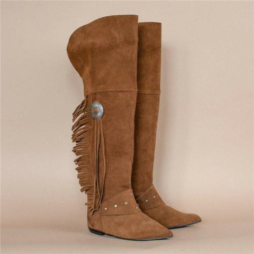 Brown Fringe Low Heel Long Boots Vintage Knee-High Boots