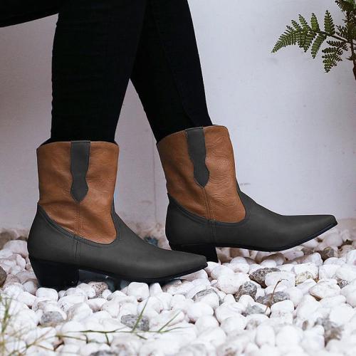 Women's Simple Printed Zipper Daily Winter Low Heel Boots