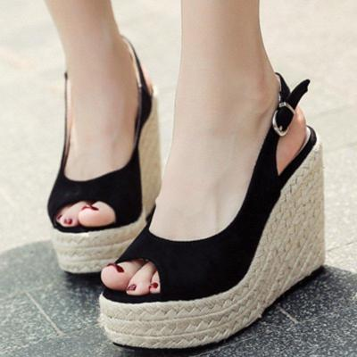 Black Summer Buckle Holiday Wedge Heel Artificial Suede Sandals