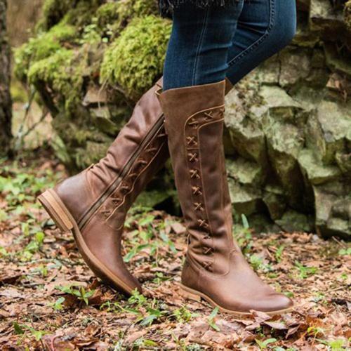 Women Round Toe Riding Boots Pu Fall Zipper Shoes