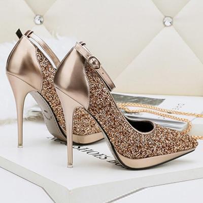 11.5 Cm Sequins Fashion Pointed Toe Slim Heels Shoes