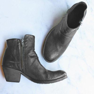 Women Block Heel Zipper Ankle Booties Vintage Round Toe Boots