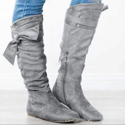 Plus Size Suede Bowknot Flat Heel Zipper Knee Boots