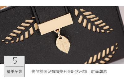 Short Leather Wallet for Women Zipper Ladies Wallet Luxury Brand Small Purse Female Wallets Hollow Leaves Black Khaki Carteira