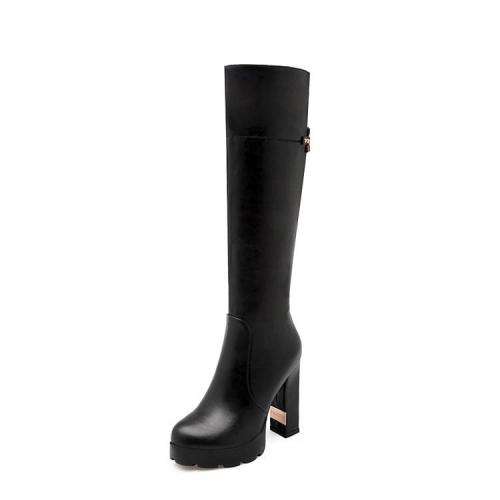 Zipper High Heels Platform Chunky Tall Boots for Women 6956