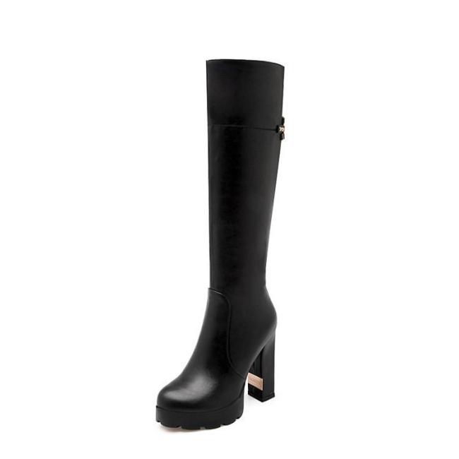 Zipper High Heels Platform Chunky Tall Boots for Women 6956