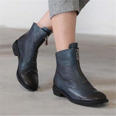 Women Casual Low Heel Zipper Comfy Ankle Boots