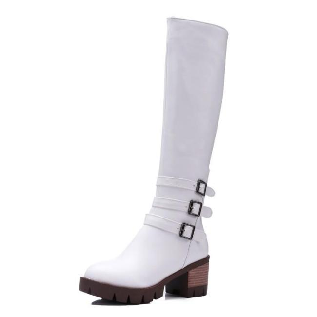 Belt Buckle Chunky Knee High Boots for Women 4002