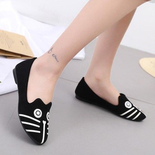YOUYEDIAN Flat Shoes Women 2019 Cartoon Cat Print Ladies Boat Shoes Casual Loafers Flat Shoes Women Chaussures Femme