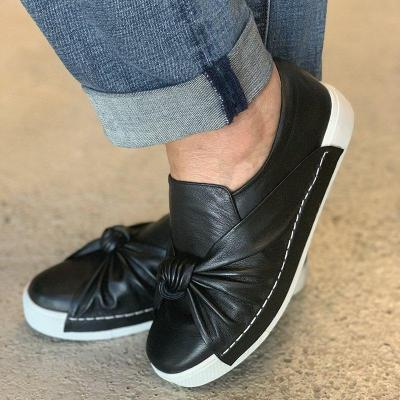 Plus Size Leather Bowknot Slip On Sneakers Casual Loafers