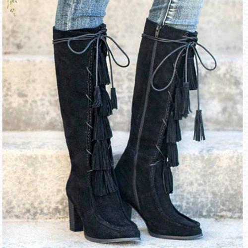 Chunky Heel Tassel Fringe Faux Suede Zipper Boots